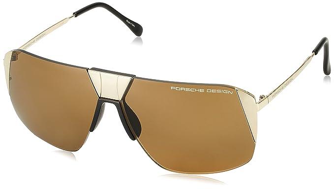 597109e7c031 Porsche Design Men s P8638 P 8638 C Gold Square Sunglasses 66mm ...