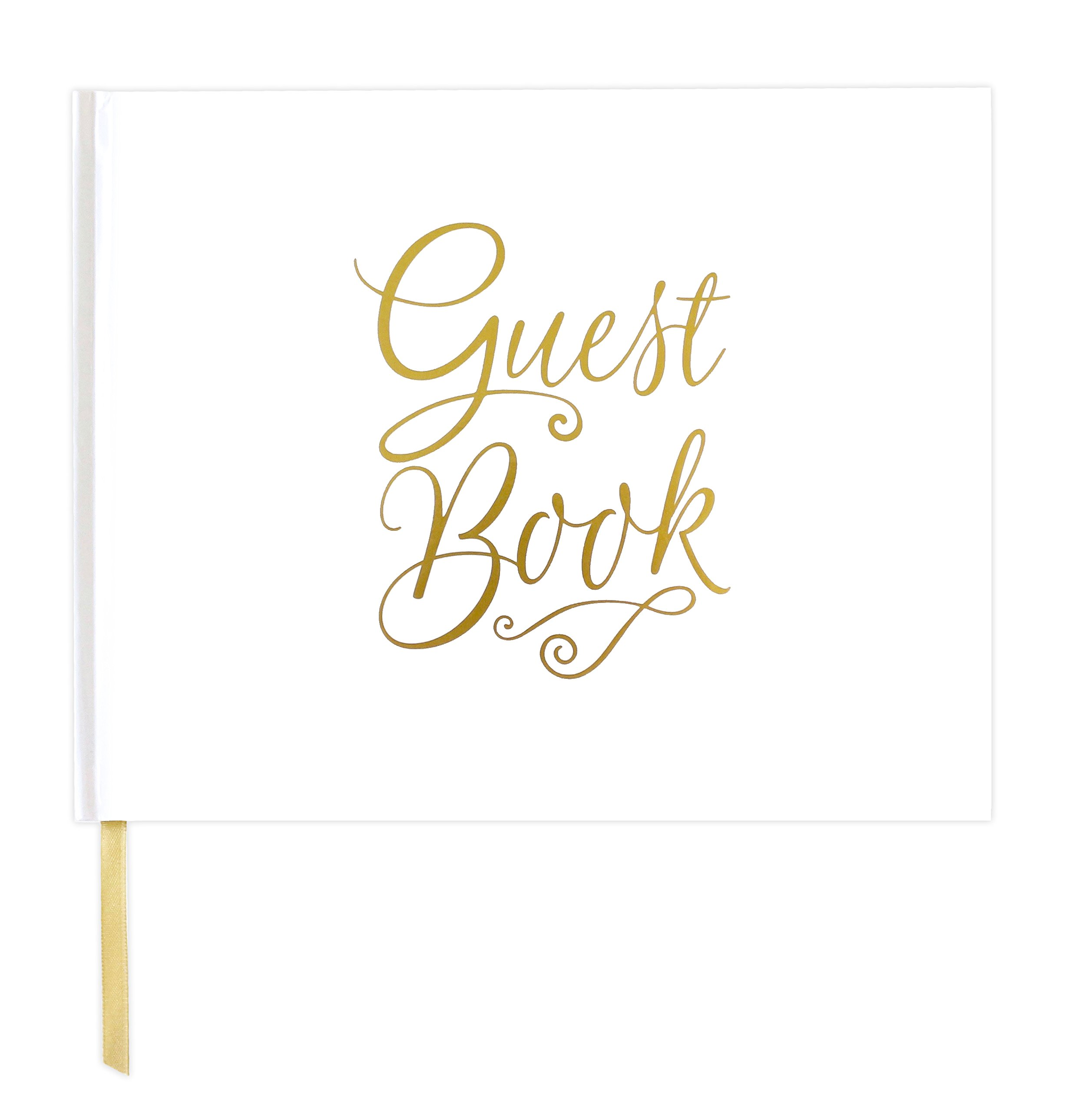 bloom daily planners Wedding Guest Book (120 Pages) Guest Sign-in Book Guest Registry Planner Guestbook - White Cover with Gold Foil, Gilded Edges and Gold Page Marker Hardbound 7'' x 9'' - Classic by bloom daily planners
