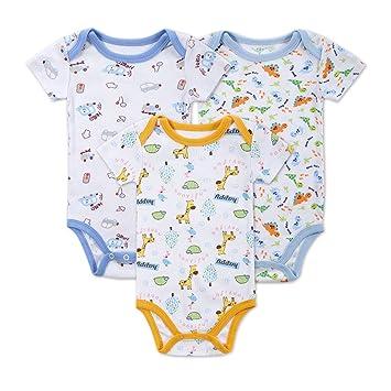 Lufa 3pcs bebé niños recién nacidos Pelele Coton manga corta ropa ...