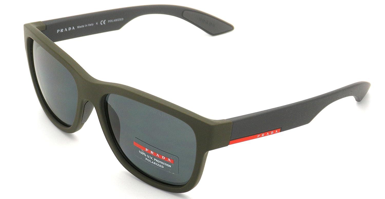 6698b0cb63bd3 New Authentic Prada Sunglasses PS 03QS UBW5Z1 57mm Green Rubber   Grey  Polarized  Amazon.ca  Clothing   Accessories