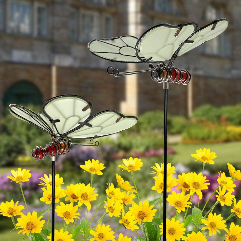 "FANN 2 Pack Butterfly Dance Garden Stakes Decor Glow in Dark Metal Yard Art Indoor Outdoor Lawn Pathway Patio Ornaments 7"" x 15"""