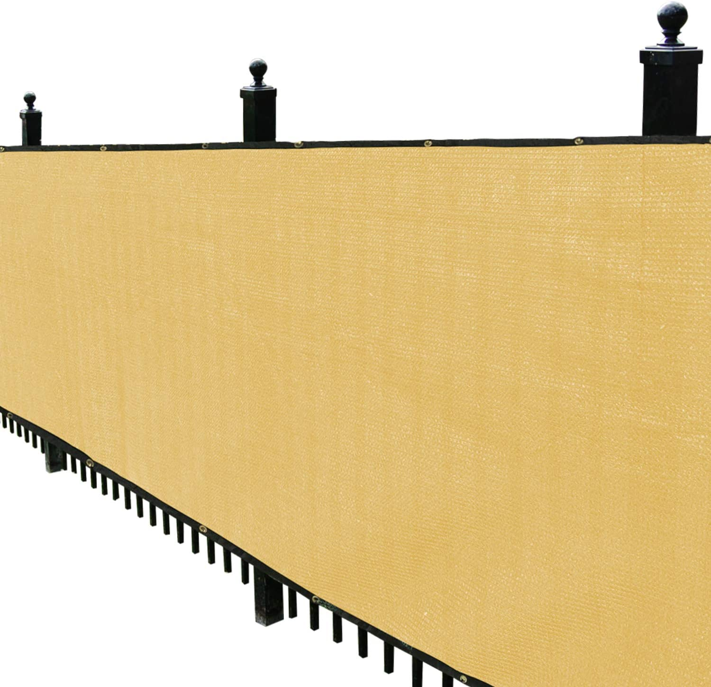 Kanagawa Privacy Screen Fence 4' x 50' Mesh Windscreen for Backyard Deck Patio Balcony Pool Porch Railing, Sand