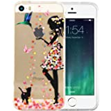 iPhone 5 Case, JIAXIUFEN Clear Soft TPU Back Cover with Cute Pattern for iPhone 5 5S SE - Flower Small Girl