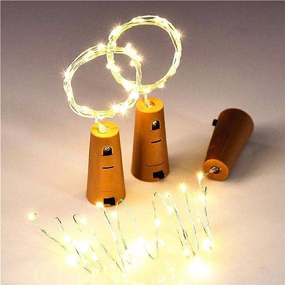 Elenxs Cadena de luz del Vidrio de Vino 1.5m energía Solar LED DIY Cork Forma de Botella de Alambre de Cobre del tapón del Vino de la lámpara: Amazon.es: ...