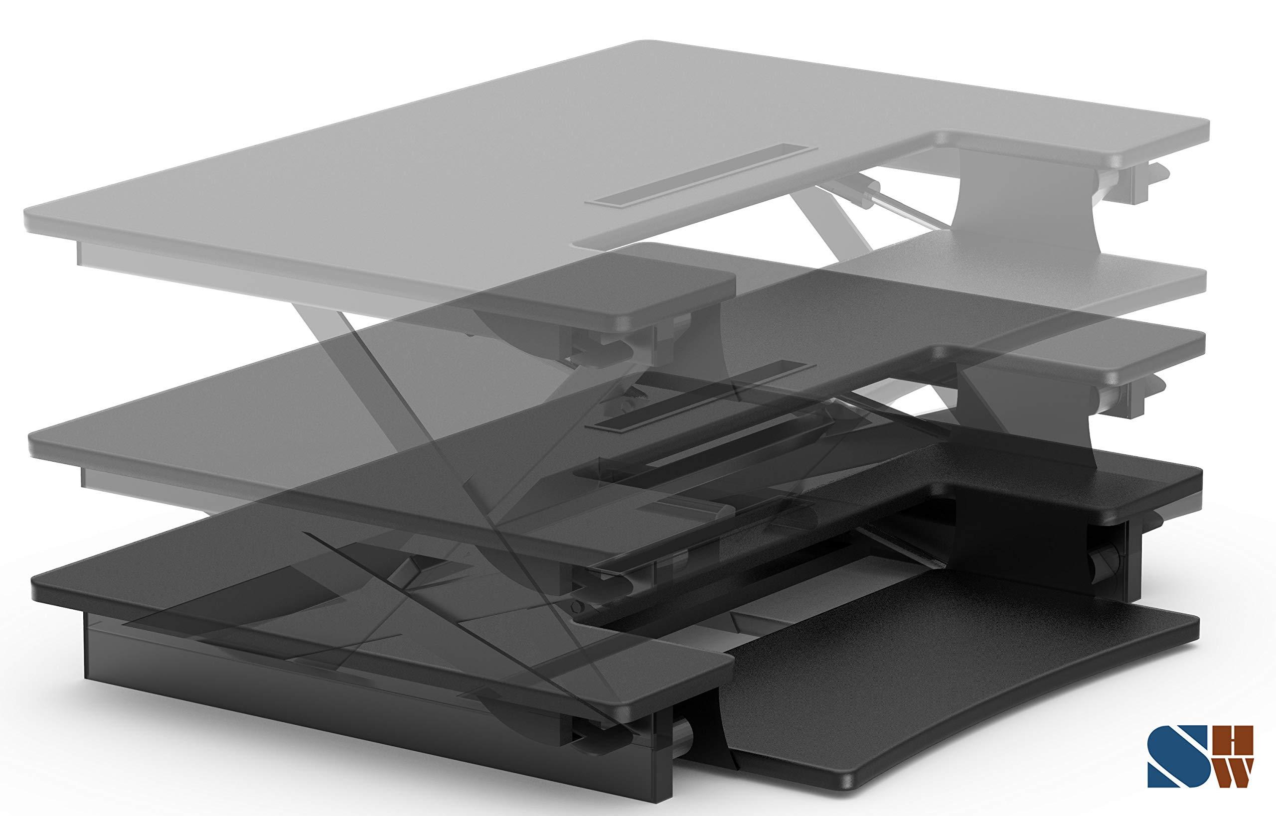 SHW Height Adjustable Sit to Stand Desk Riser Converter Workstation, Black by SHW (Image #5)