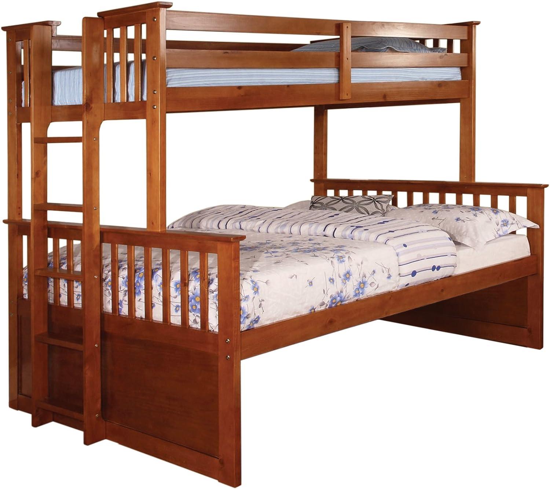 Furniture of America Ulysses Bunk Bed, Twin Over Full, Oak Finish