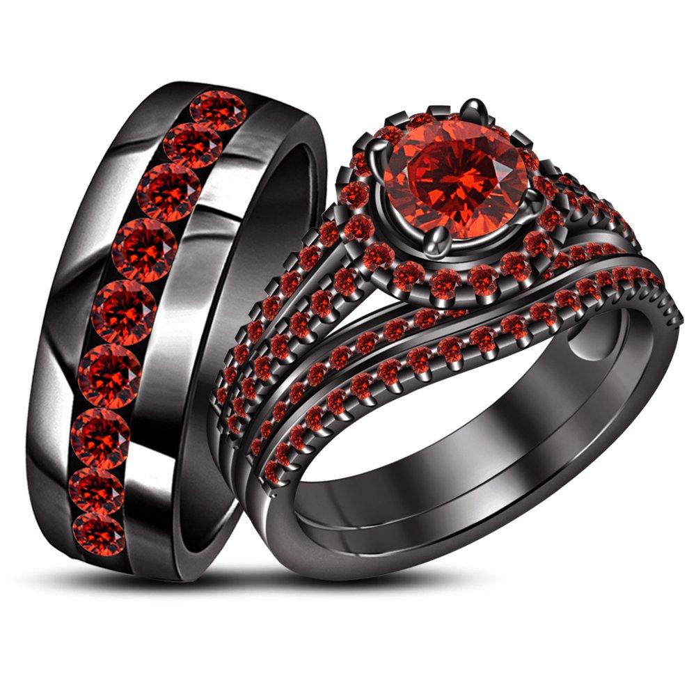 TVS-JEWELS 925 Silver Black Gold Plated Round Cut Gemstone Wedding Band & Maching Ring Set (red garnet)