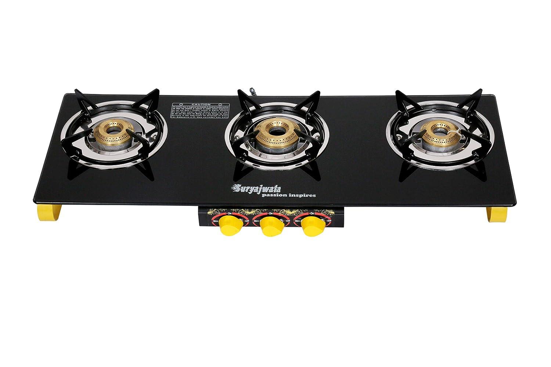 Suryajwala Frameless 3 Burner Gas Stove, Yellow