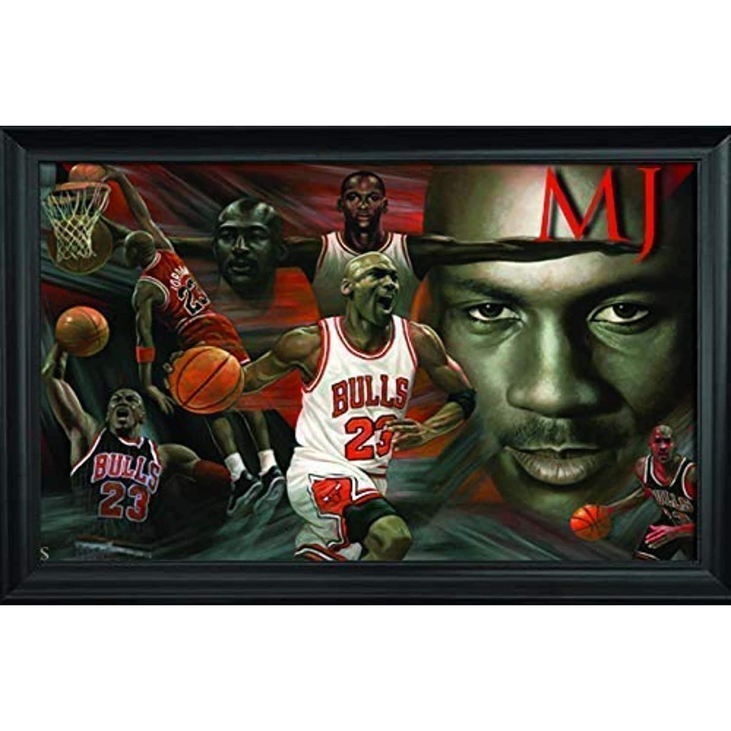 def165aa94b28 Michael Jordan Wall Art Decor Framed Print | 36x24 Premium (Canvas/Painting  Like) Textured Poster | NBA Basketball Ultimate Greatest of All Time ...