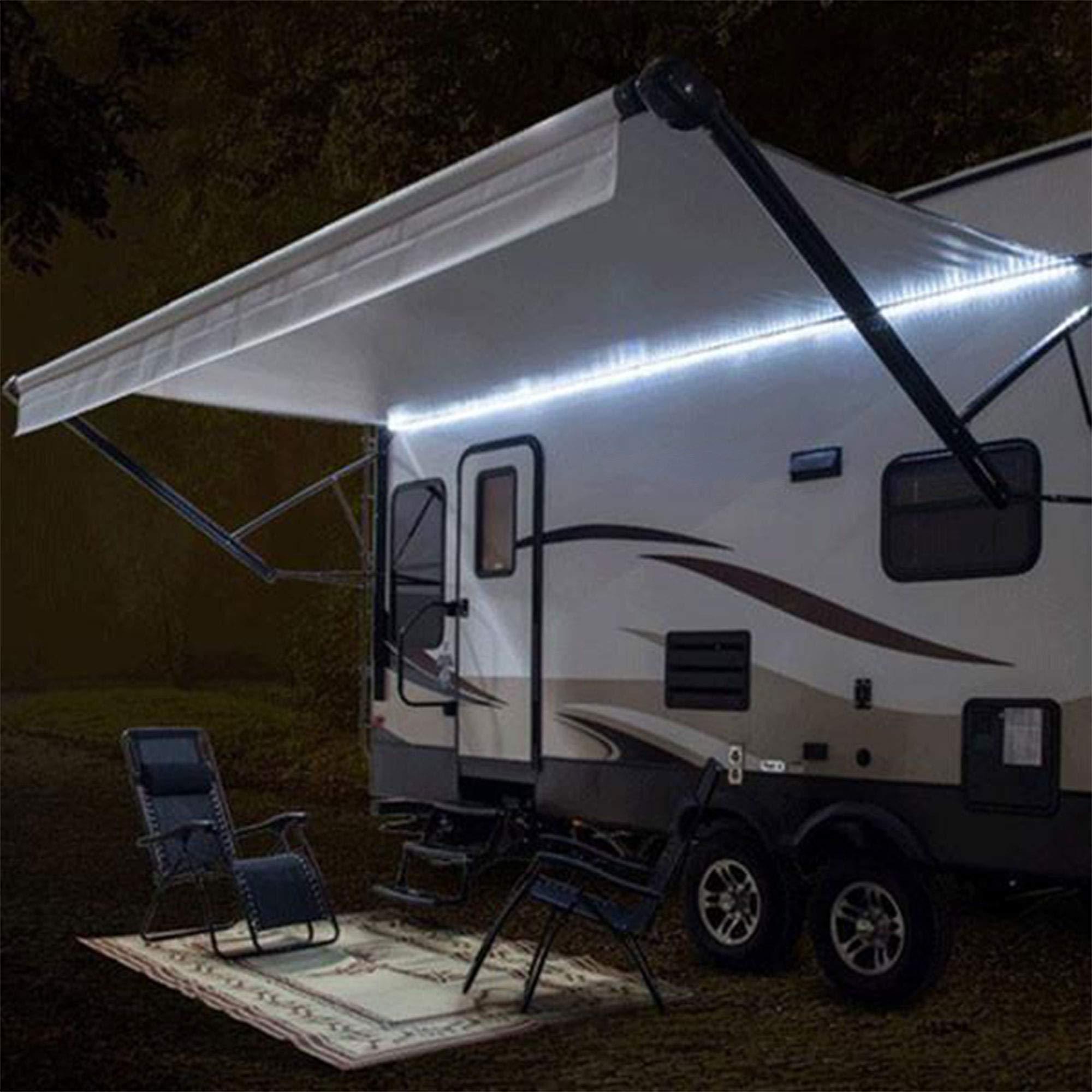 RecPro RV White LED Awning Party Light w/Mounting Channel & Black PCB 12v Light (16')