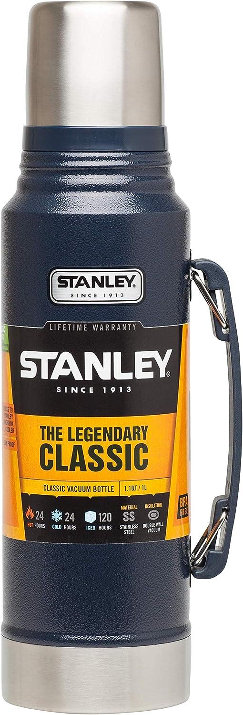 Doppelwandige Isolierung Isolierflasche Isolierkanne Kaffeekanne 1 Liter 18//8 Stainless Edelstahl Hammertone Navy Stanley Vakuum-Thermoskanne Integrierter Thermobecher