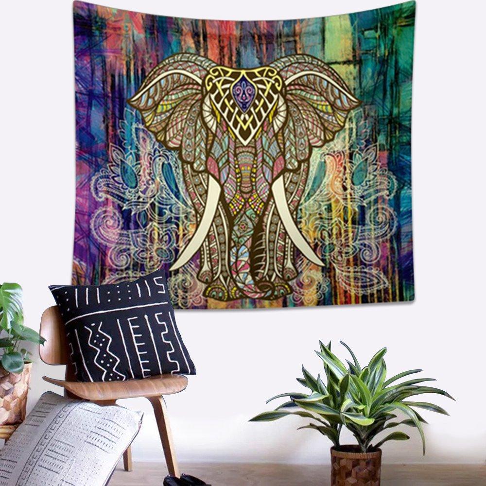 Bohemian Tapestries Elephant Mandala Tapestry Hippie Gypsy Wall Hanging Tapestry Wallpaper for Dorm Decor, Boho Picnic Throw, Beach Towel by ZHH (Vertically, 59x 50) 59x 50)