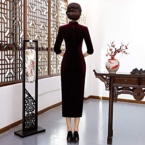 71df1f0dd Amazon.com: Chinese Style Traditional Shang Hai Story Long Sleeves Elegant  Classic Qipao Dress Velvet Long Cheongsam: Clothing