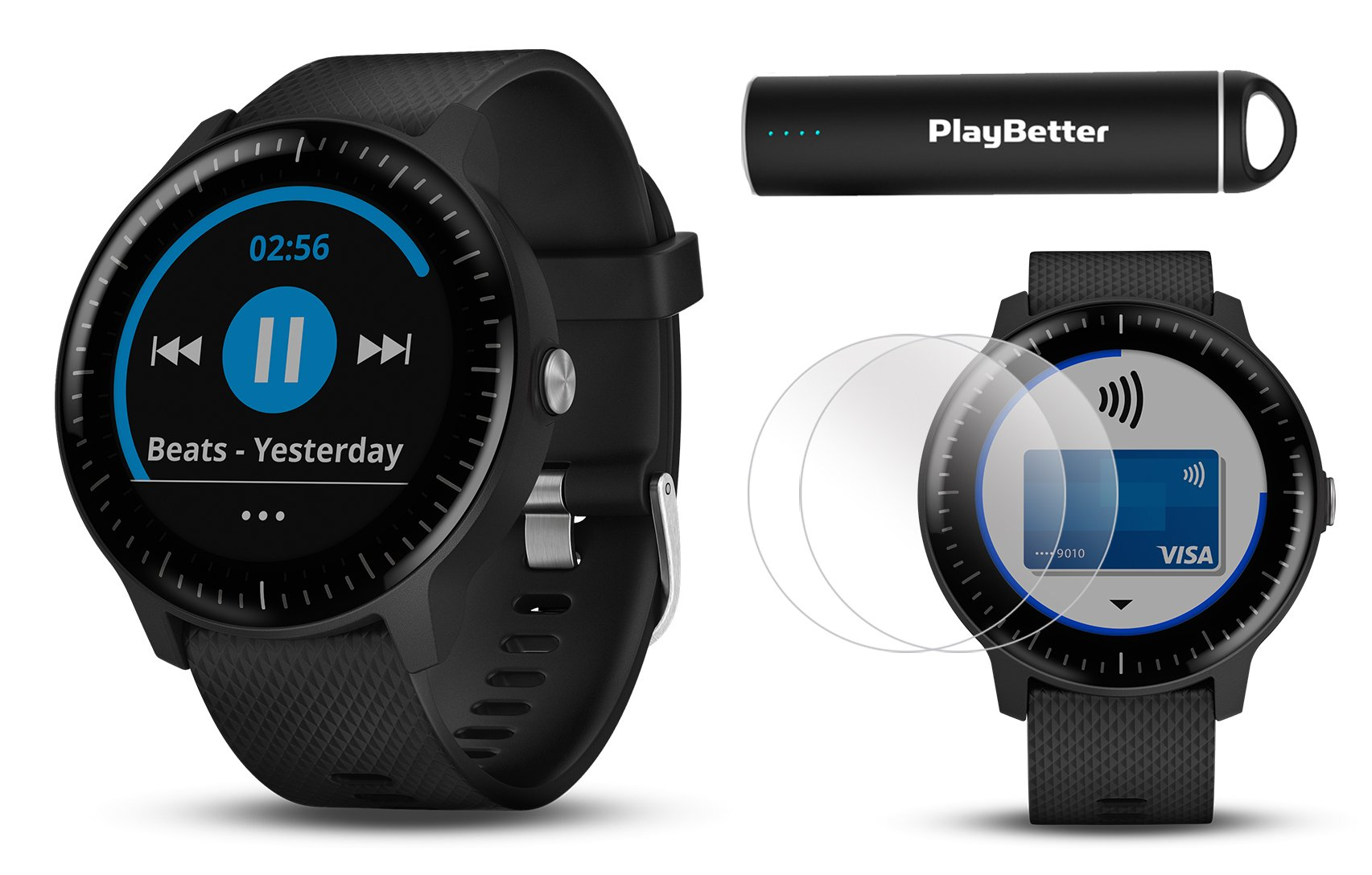 PlayBetter Garmin vivoactive 3 Music GPS Smartwatch Power Bundle | with HD Screen Protector Film (x4) USB Portable Charger | Spotify, Activity/Fitness Tracking, Garmin Pay (Black with Music & WiFi) by PlayBetter