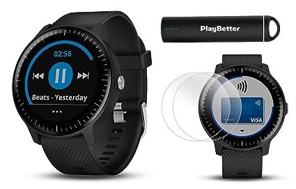 cadc1dd73a4 Garmin vivoactive 3 Music GPS Smartwatch Power Bundle | with HD Screen  Protector Film (x4