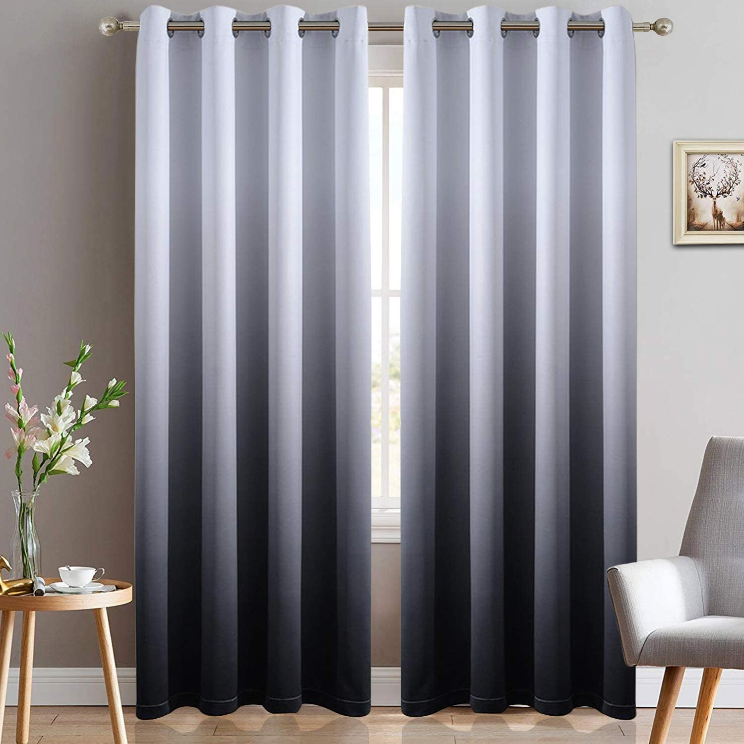 Yakamok Room Darkening Black Gradient Color Ombre Blackout Curtains Thickening Polyester Thermal Insulated Grommet Window Drapes for Living Room/Bedroom (Black, 2 Panels, 52x84 Inch)