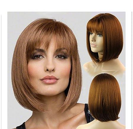 1234 Peluca entera sexy para mujer, color marrón oscuro, peluca de pelo corto con cabeza de bobo, peluca resistente a la peluca para mujeres: Amazon.es: ...