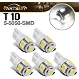 Partsam 5x White 5-5050-SMD 161 168 194 T10 LED Bulbs for Top Clearance Cab Marker Roof Running Light Lamp 12V