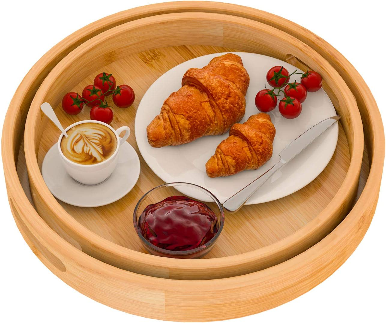 Round Serving Bamboo Wooden Tray for Dinner Trays Tea Bar Breakfast Food Ottoman