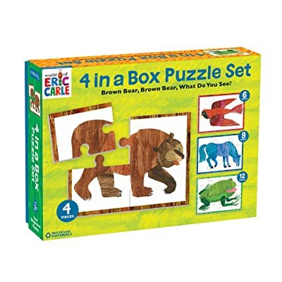 "Mudpuppy World of Eric Carle Brown Bear 4-in-A-Box Puzzles, Ages 2-5, Each Measures 6""x8 - Chunky Puzzles with 4, 6, 9 and 12 Pieces Featuring Popular Animals - Difficulty Level Grows with Child: Toys & Games"