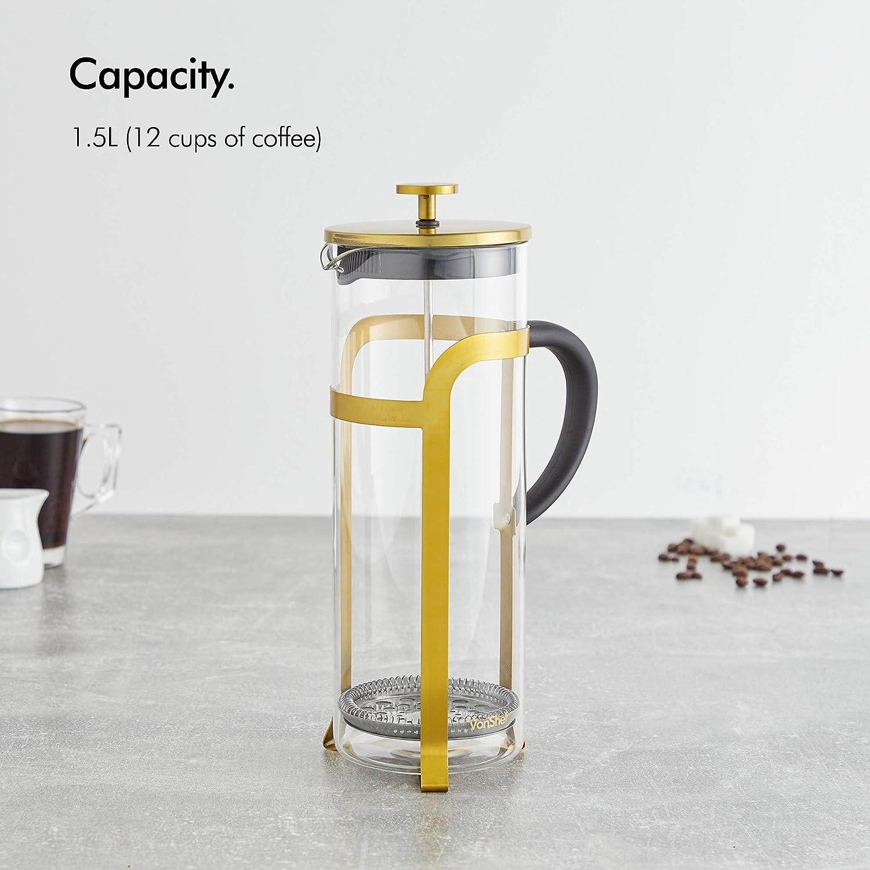 Cafetera de 12 tazas con filtro franc/és VonShef Cafetiere de Vidrio con acabado en Cromo de 1,5L