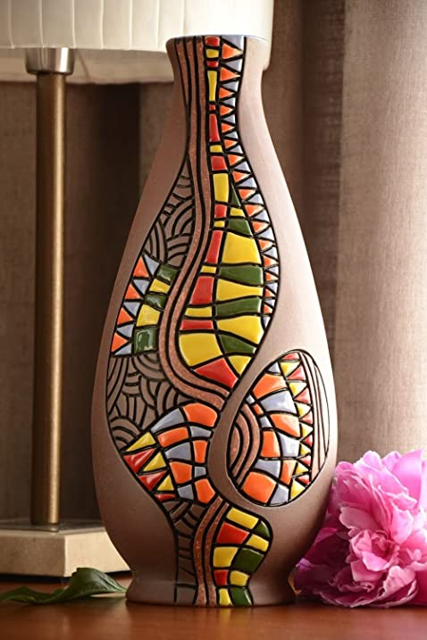 Amazon Large Beautiful Handmade Clay Tall Ceramic Flower Vase