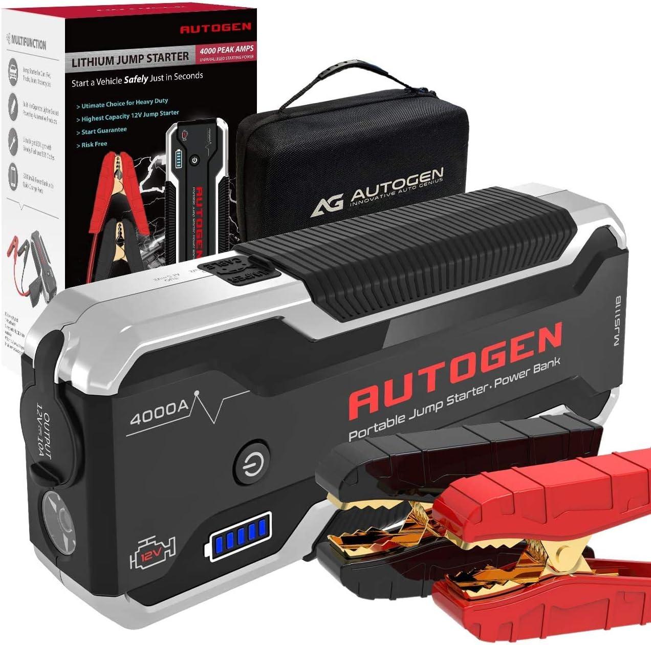 AUTOGEN Arrancador de Coches, 4000A 28000mAh (10.0L + Gasolina y Diesel), Paquete de Refuerzo de Caja de Puente de batería de Litio portátil de 12 ...