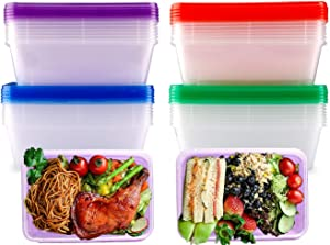 Meal Prep Containers Plastic Disposable Reusable Bento Box with Lids, Food Storage Containers BPA Free, Stackable, Dishwasher, Microwave, Freezer Safe (20 Pack, Multiple Color, 750ML/26 OZ)