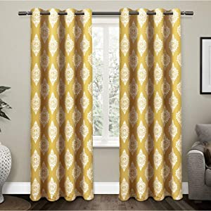 Exclusive Home Curtains Medallion Blackout Grommet Top Curtain Panel Pair, 52x84, Sundress Yellow, 2 Count