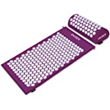 INTEY Acupressure Mat & Pillow Set Back &Neck Pain Relief Massage Mat with Carry Bag Purple