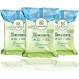 Grab Green Natural Wet Dryer Sheets, Reusable & Compostable, 64 Loads (3-Pack), Fragrance Free, Unscented/Free & Clear, Fabri