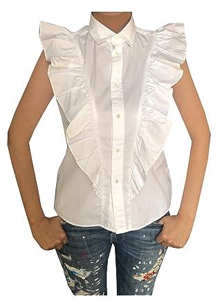 5fb65ca1fe488f RALPH LAUREN Polo Women Ruffle Shirt Top (M, White) at Amazon ...