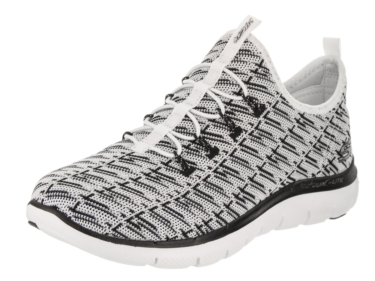 Skechers Flex Appeal 2.0-Insights, Zapatillas sin Cordones para Mujer 6.5 C US|Blanco/Negro