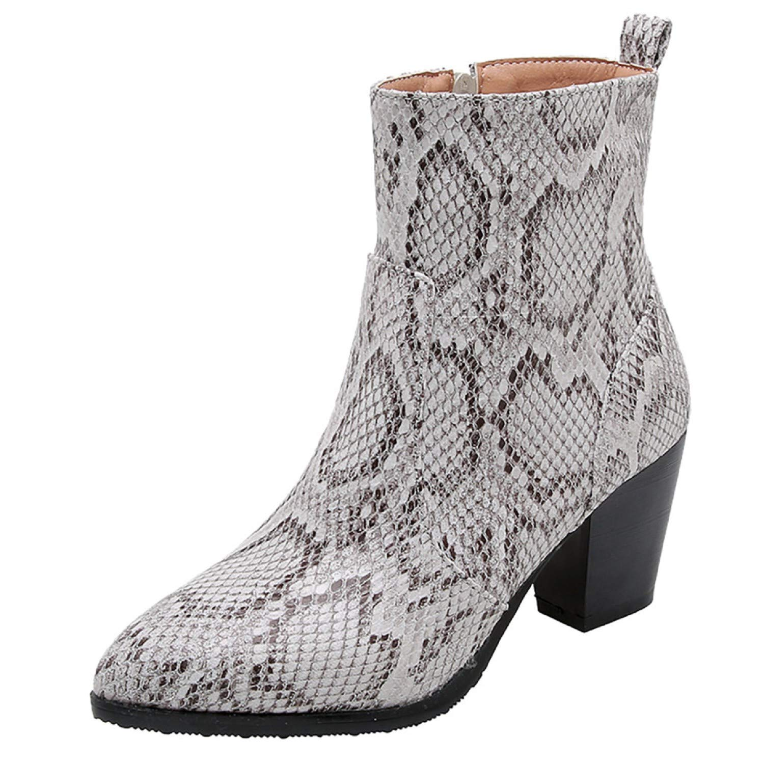 Women Snakeskin Print Boots,Tsmile Extra Wide Faux Leather Warm Casual Chunky High Heel Party Light Ankle Booties Gray by Tsmile Winter