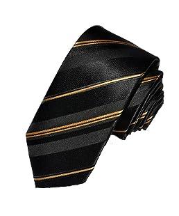 Covona Men's Narrow Black-Gold-Striped Tie (Width: 2.5 Inches)