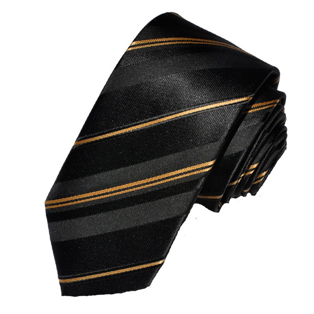 Covona Men's Skinny Black-gold-striped Tie (Width: 2.5 Inches) ST2019