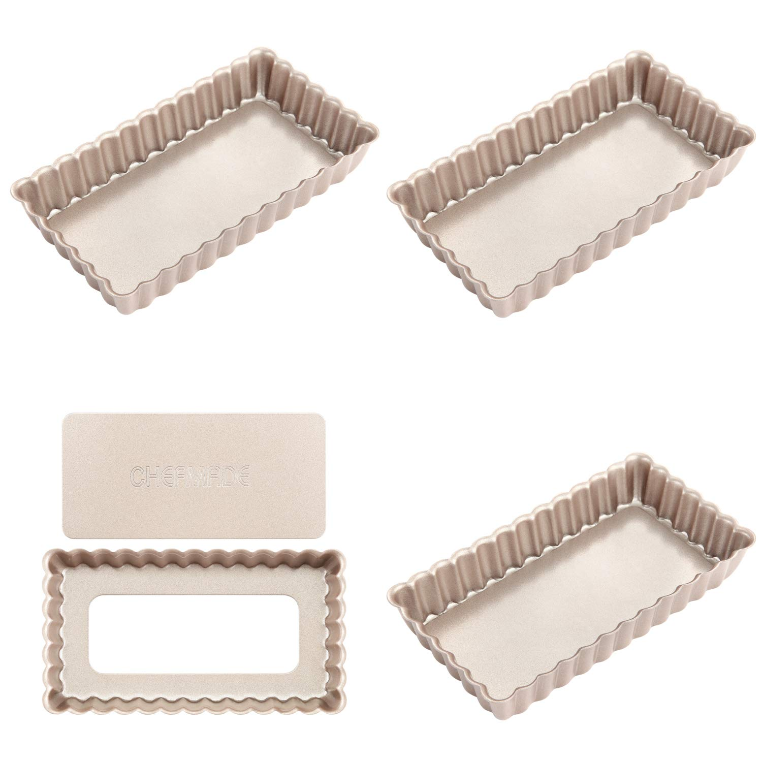 CHEFMADE Mini Rectangular Quiche Pan Set with Removable Loose Bottom, 4PCS 4-Inch Non-stick Carbon Steel Tart pan, FDA Approved for Oven Baking (Champagne Gold)