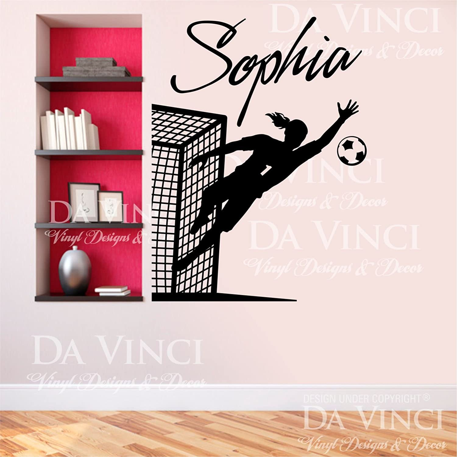 Amazon com soccer player goalkeeper decal custom girl name wall personalized vinyl sticker decor super jumbo 29 x 35 inches home kitchen