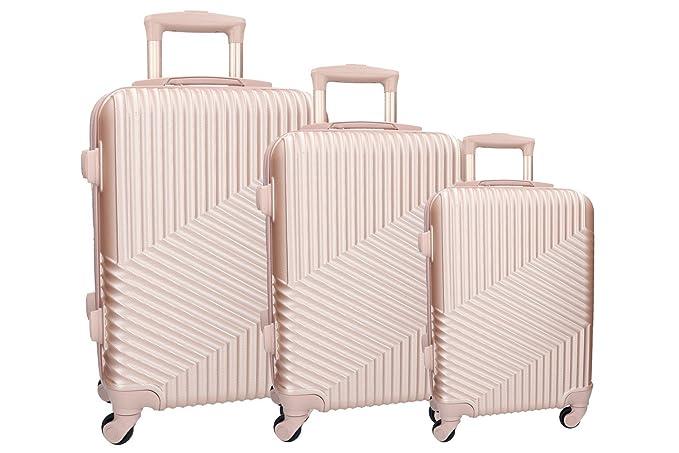 3 Maletas rígidas PIERRE CARDIN rose cabina para viajes 4 ruedas: Amazon.es: Ropa y accesorios