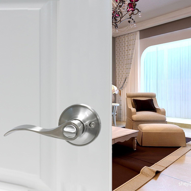 Gobrico Satin Nickle Entry Door Hardware Knob Lever and Closet Leverset Lockset with Keys 10Pack