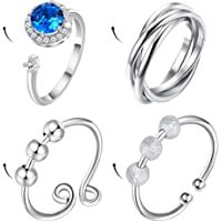 4Pcs Anti Anxiety Ring with Beads Fidget Open Rings for Women Figit Anxiety Beads Rings for Men Fidget Rings for Anxiety…