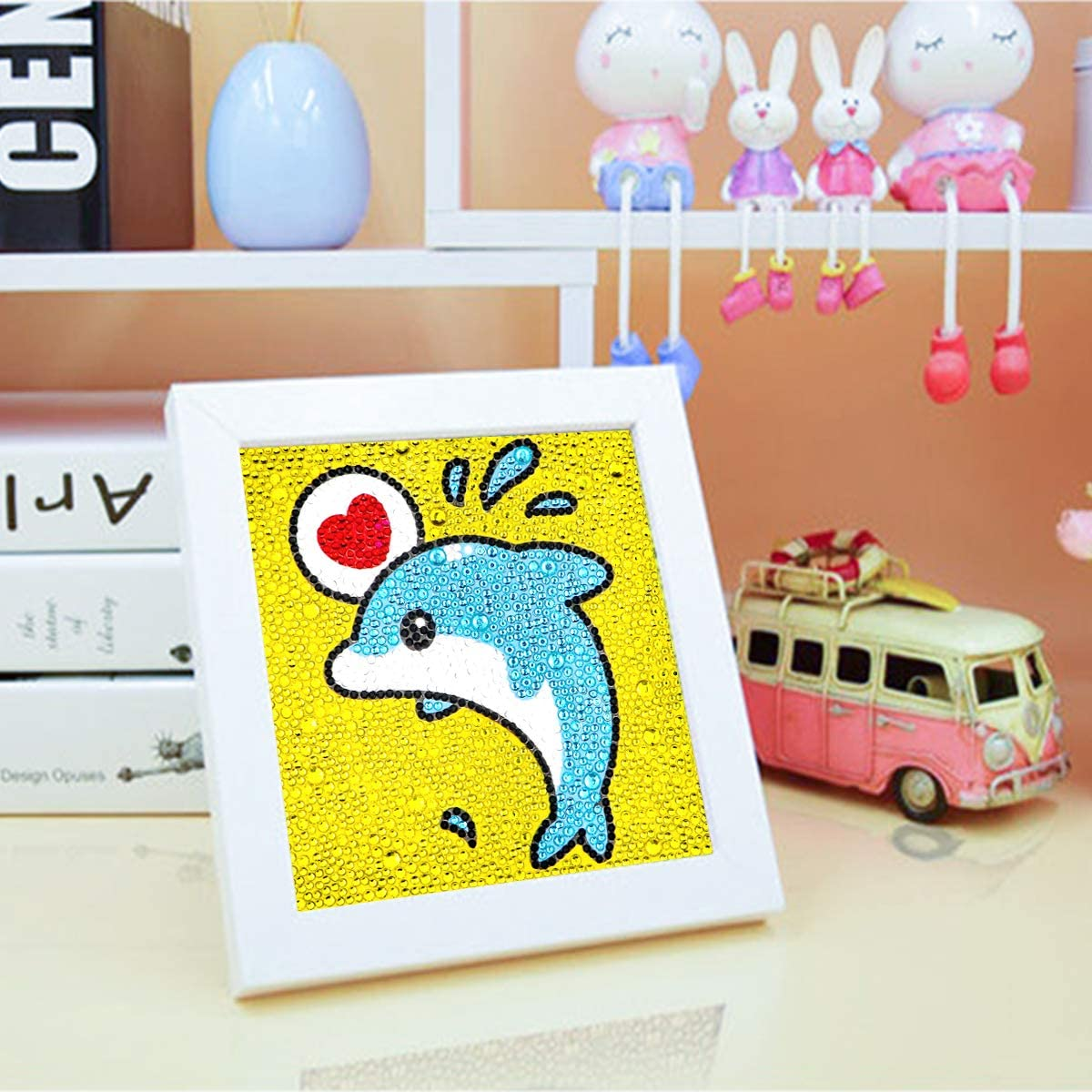 YOLUFER Easy and Relaxing Mini DIY 5d Diamond Painting Kits Mosaic Making with White Frame for Kids Little Dolphin Size 6 x 6inches