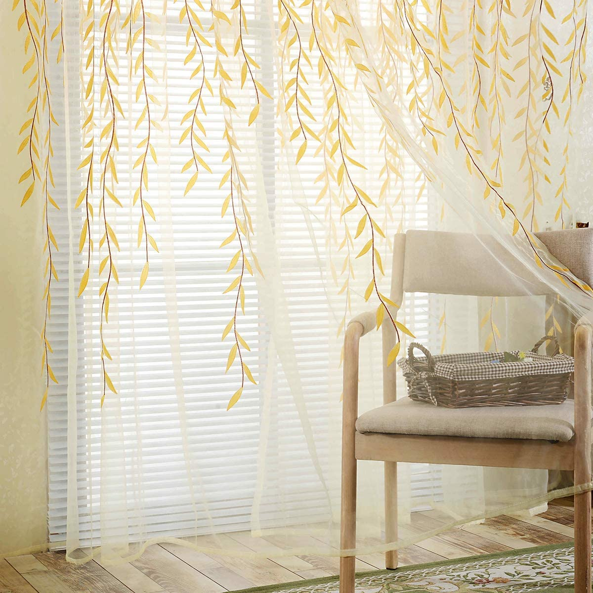 BROSHAN Voile Room Door Curtain 1 Panel , Willow Leaf Print Sheer Curtains and Drapes Yellow for Living Room Bedroom Window Treatment Transparent , 1 Panel