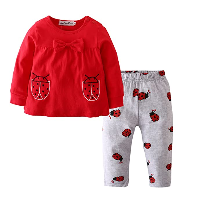 034d7b3970de Baby Girls Clothes Set 2 Piece Long Sleeve Ladybug Pattern Toddler Outfits  (0-6