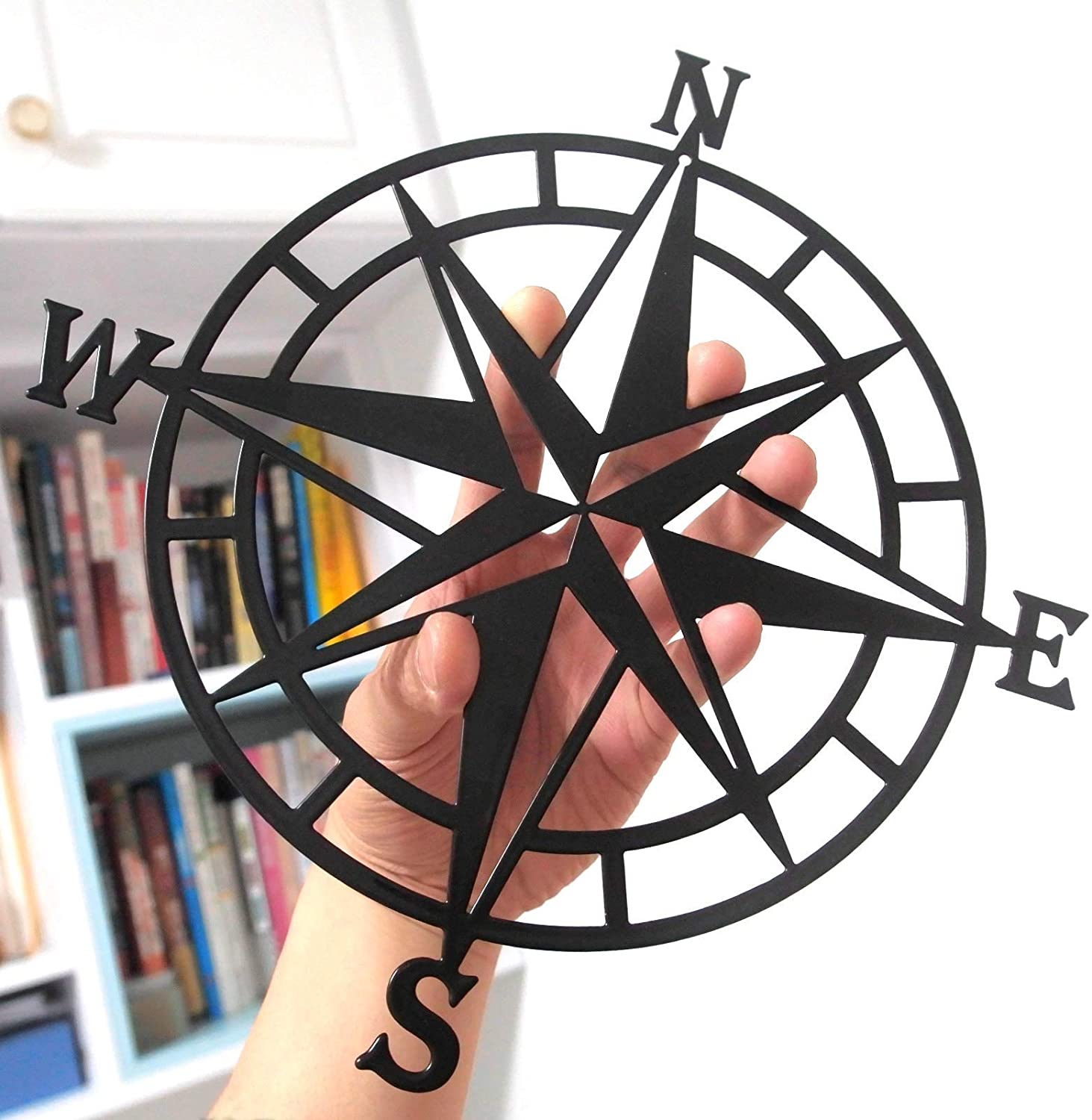 ESTART 11 Inches Metal Decorative Nautical Compass Wall Decor, Living Room Bedroom Office Porch Garden Patio Signs Wall Hanging Art Beach Theme Home Decoration (Black)