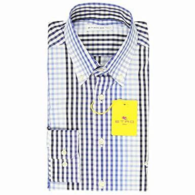 25dd11e301 ETRO Blue Plaid Button Down Collar Cotton Blend Extra Slim Shirt at ...