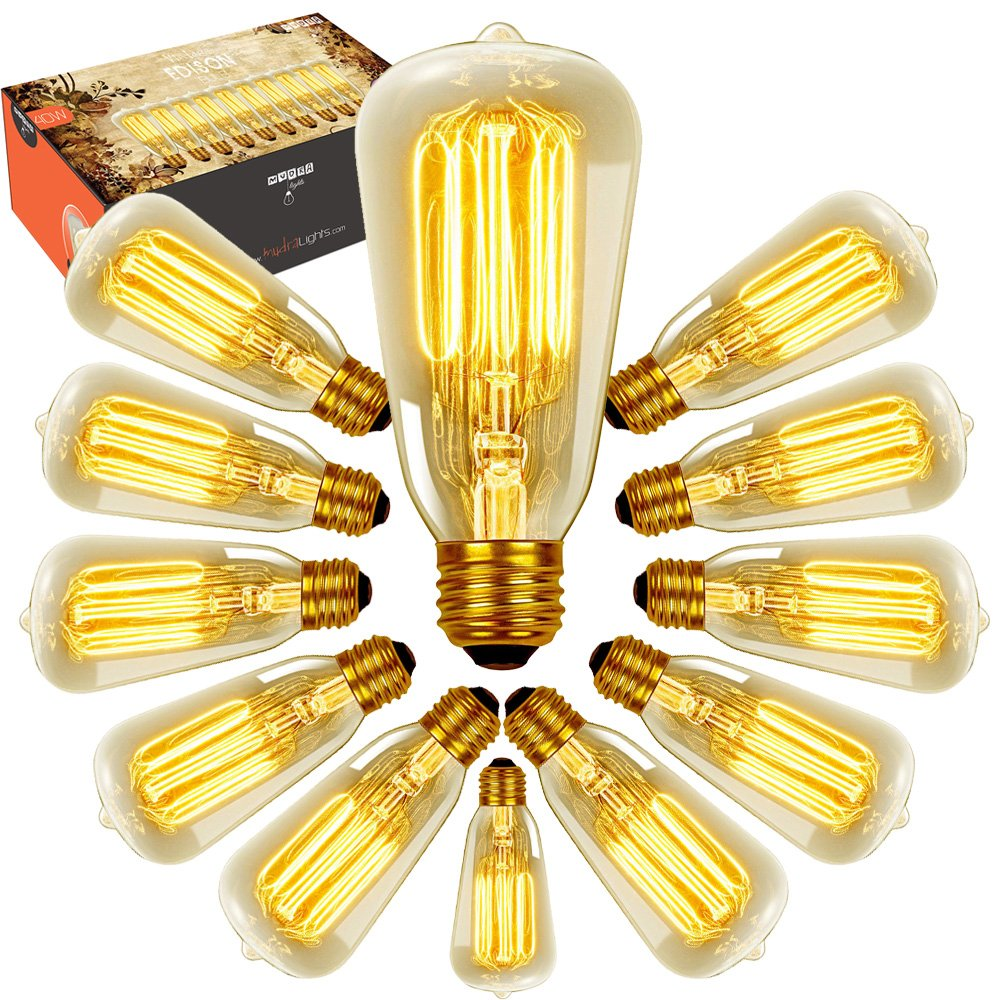 Edison Bulbs - 12 pack 40w Dimmable Vintage Antique Style - Original Nostalgic Reproduction Bulb Filament for String Lights & Pendant Lamps
