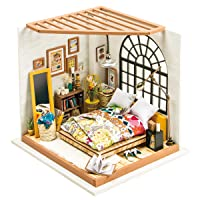 ROBOTIME DIY Dollhouse Kit Miniature Dreamy Bedroom Kits to Build Great Toy Gift...