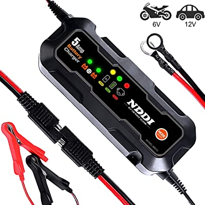NDDI Automatic Battery Charger, 6V-12V 5000mA Quick Smart Trickle Battery Charger for Motorcycle Car Boat Lawn Mower(5A): Automotive