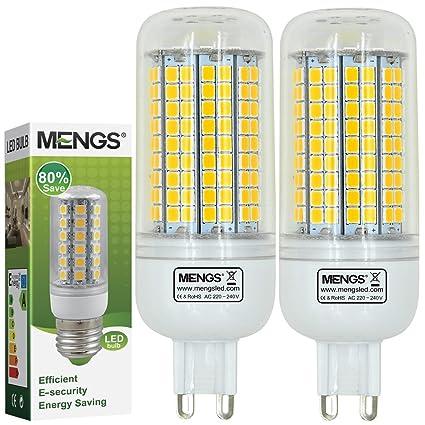 MENGS® Pack de 2 Bombilla lámpara LED 15 Watt G9, 180x2835 SMD, blanca fría 6500K, AC 220-240: Amazon.es: Iluminación